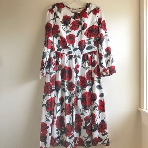 Roses novelty print midi dress fit & flared -S